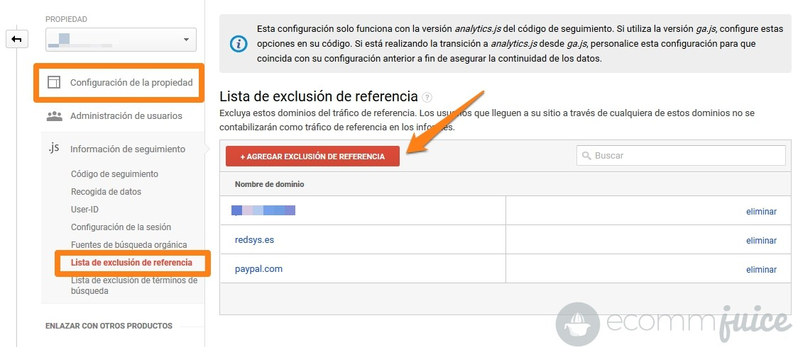 Cómo eliminar referrals Redsys y Paypal de los informes de Analytics 02