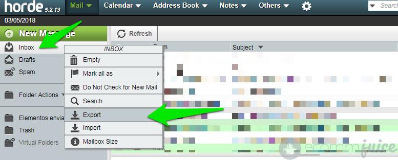 Exportamos los correos electrónicos en formato MBOX desde webmail.