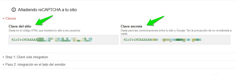 reCAPTCHA. Obtenemos la Clave del Sitio Web y la Clave Secreta.