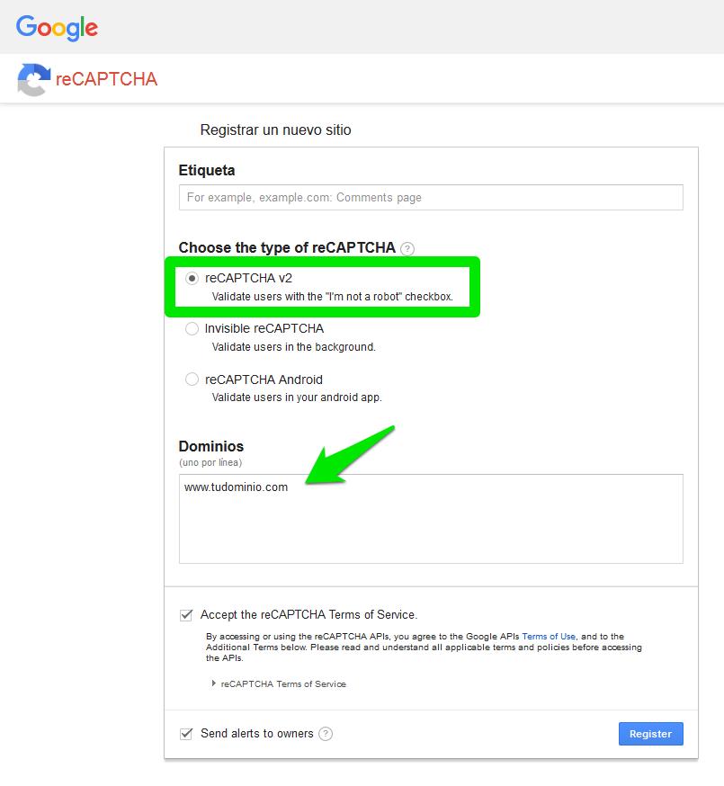 reCAPTCHA. Registrando un nuevo sitio web.