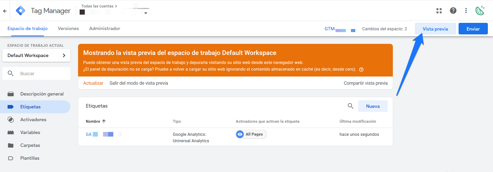 Comprobar que Google Tag Manager está instalado